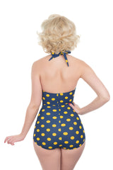 Esther Williams Navy And Yellow Polka Dot Swimsuit