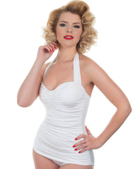The Marilyn-Classic White Swimsuit