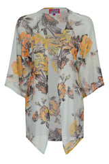 Pale Blue Chiffon Kimono With Rose Detail