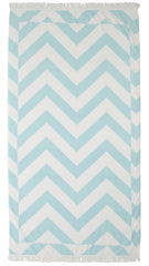 Mint & White Chevron Stripe Fringed Beach Towel