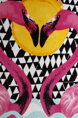 Pink Flamingo And Diamond Beach Towel