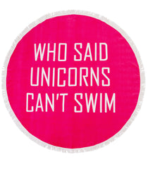 Who Said Unicorns Can't Swim Retro Beach Towel