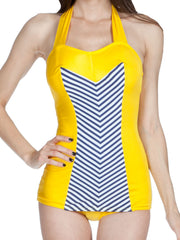 The Sophia - 1950s Yellow, White & Navy Swimsuit