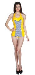 Yellow 1950s Style Retro Vintage Swimsuit UK