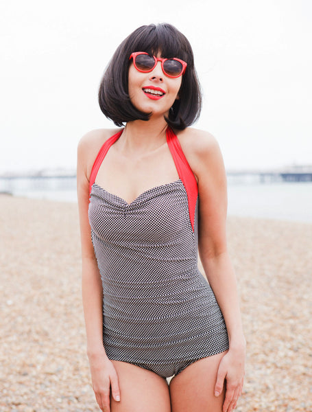 Classic Fifties Black And White Check Halterneck Swimsuit