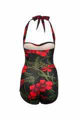 1950s Style Pin Up Black and Red Floral Swimsuit