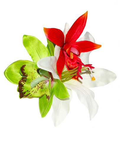 Green Orchid and Lily Tropical Hair Flower By Lady Luck's Boutique