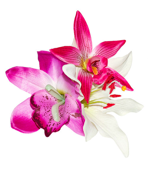 Pink Orchid and Lily Tropical Hair Flower