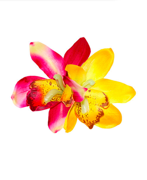 Gigi - Red and Yellow Double Orchid Hair Flower