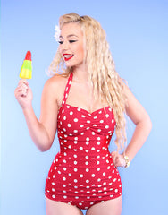 Retro Red and White Polka Dot Swimsuit