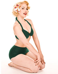 High Waisted Emerald Green Retro Bikini