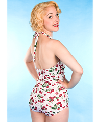 The Cherry Pie - White Retro Cherry Print Swimsuit