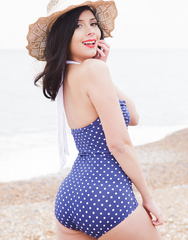 Blue And White Polka Dot Retro Swimsuit