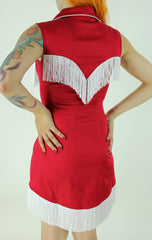 Riley Fringe Dress In Red and White