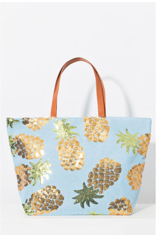 Tropical Beach Bag in Cool Blue