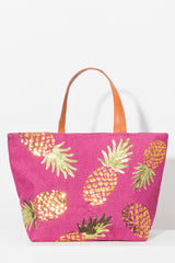 Tropical Beach Bag In Hot Pink