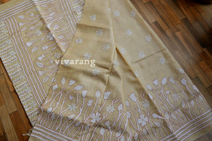 SELF HAND EMBROIDERY SILK SAREE
