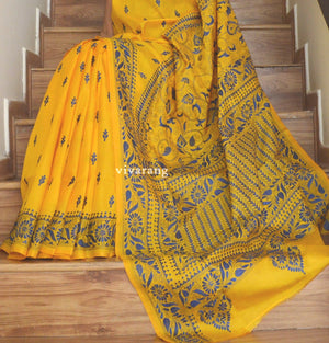 kantha saree designersaree kantha  weddingsaree red silk saree village theme saree