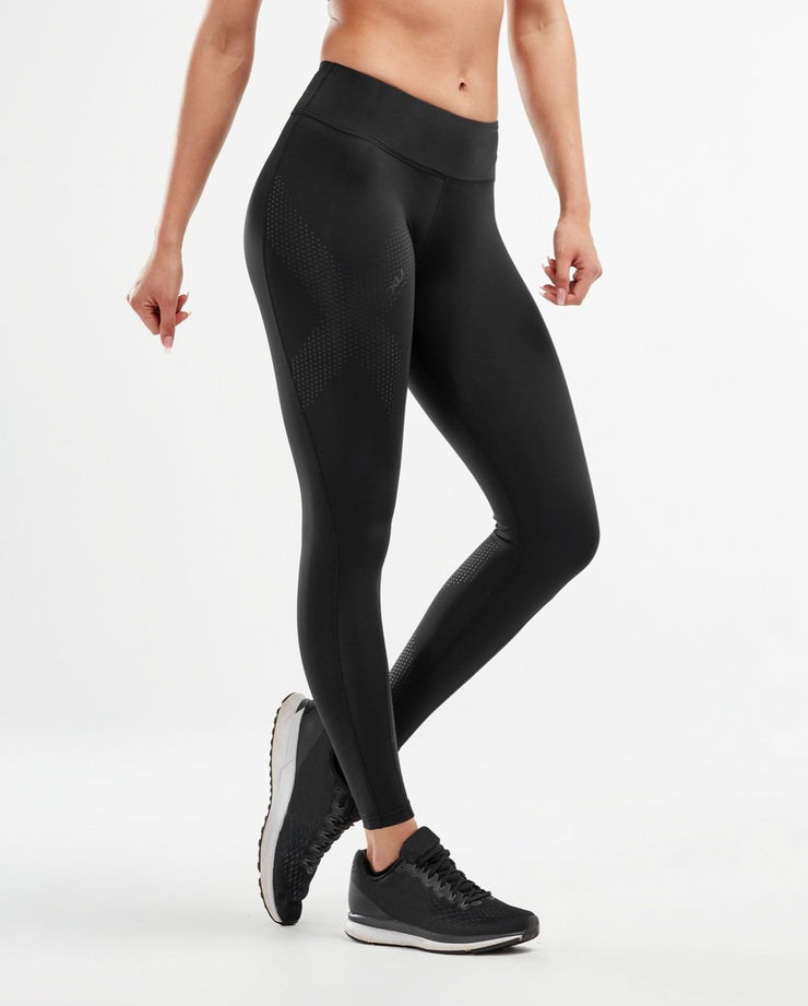 Women's Mid-Rise Compression Tights - Black Dotted Black : WA2864b