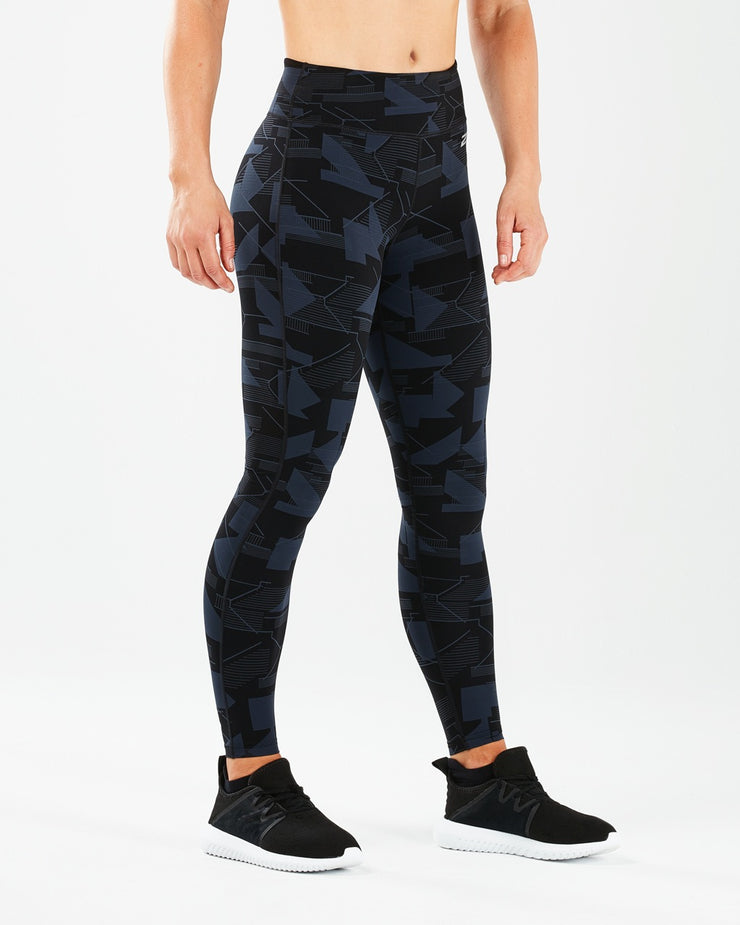 Women's Print Fitness Mid Rise Tights : WA5387B