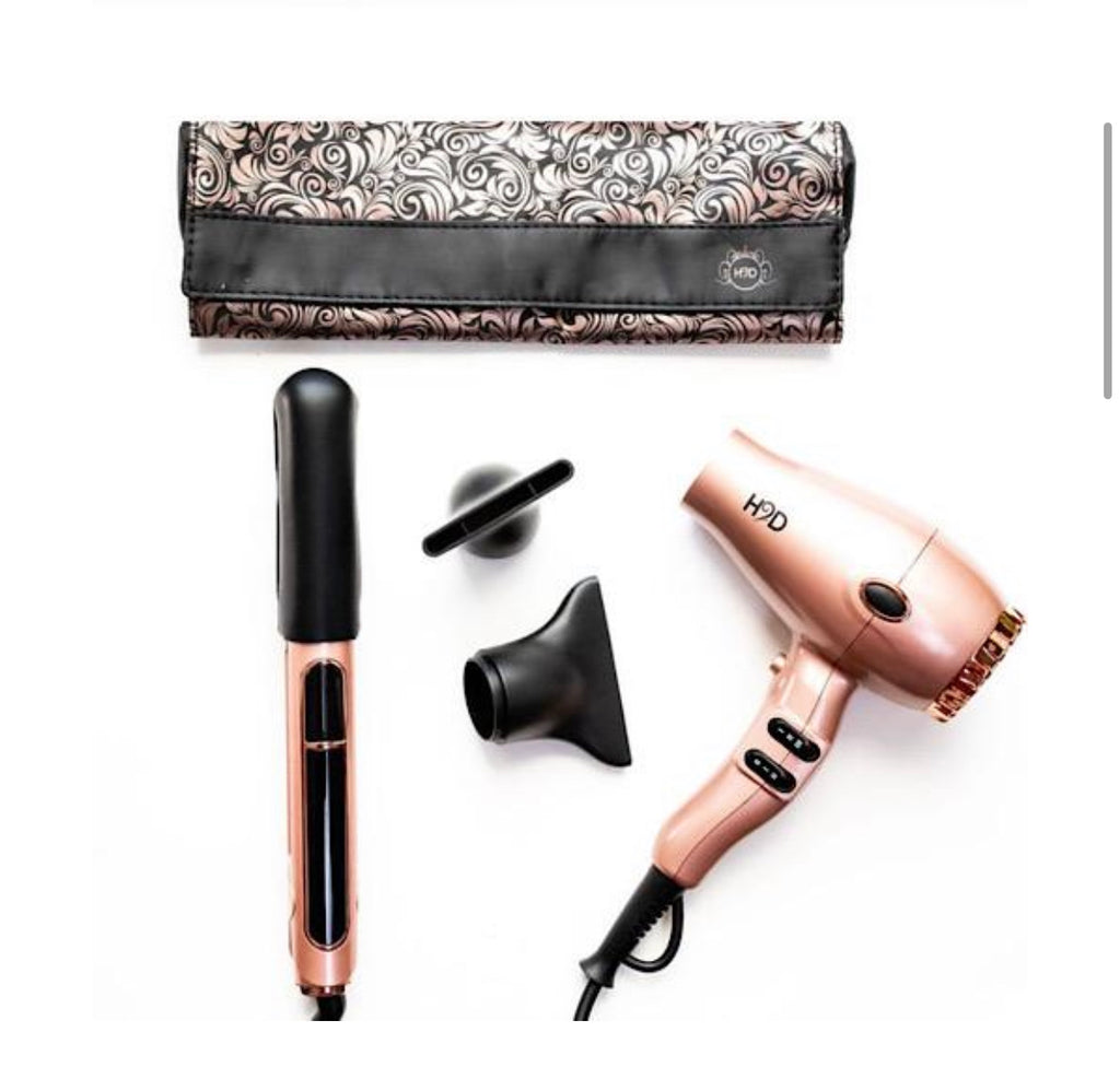 Rose Gold H2D hair straighter with full size hair dryer pack