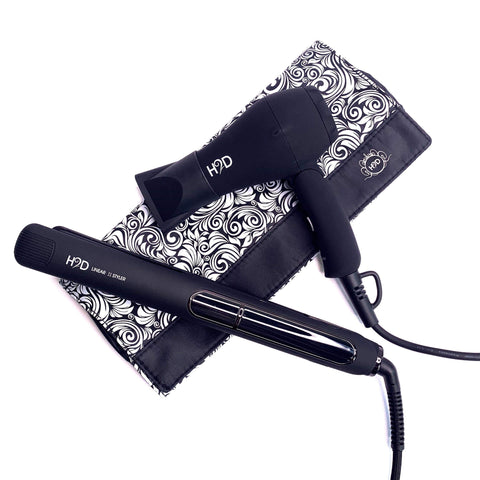 H2D Linear II Matt Black Straightener & Travel Size Dryer