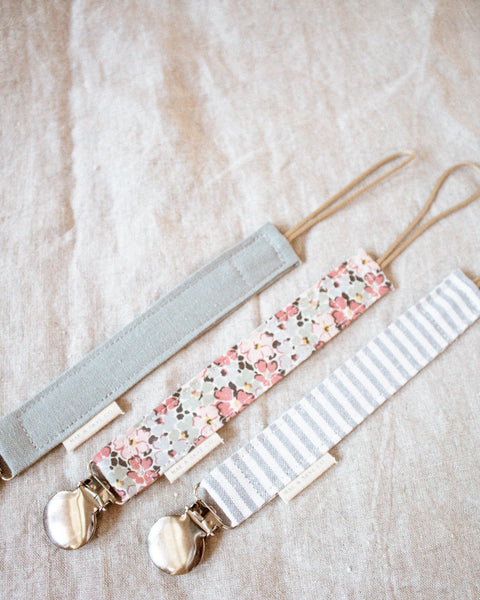 Pacifier Clip // Blue Linen Stripes