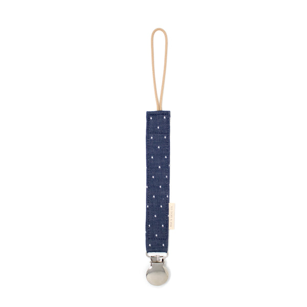 Pacifier Clip // Navy Chambray Dot