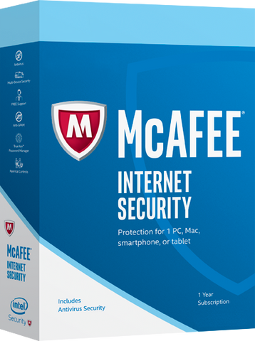 McAfee Internet Security 2017 1 Year 1 PC KeyGlobal License Product Key - Digital Download