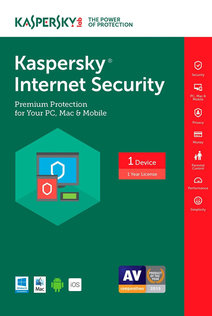 Kaspersky Internet Security 2017 1 Year Global License Product Key - Digital Download