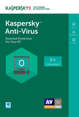 Kaspersky Anti-Virus 2017 1 Year Global License Product Key - Digital Download