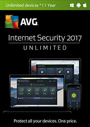 AVG Internet Security 2017 Unlimited Devices 1 Year Global License Product Key - Digital Download