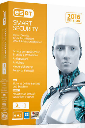 ESET Smart Security 3 PC's 1 Year Global License Product Key - Digital Download