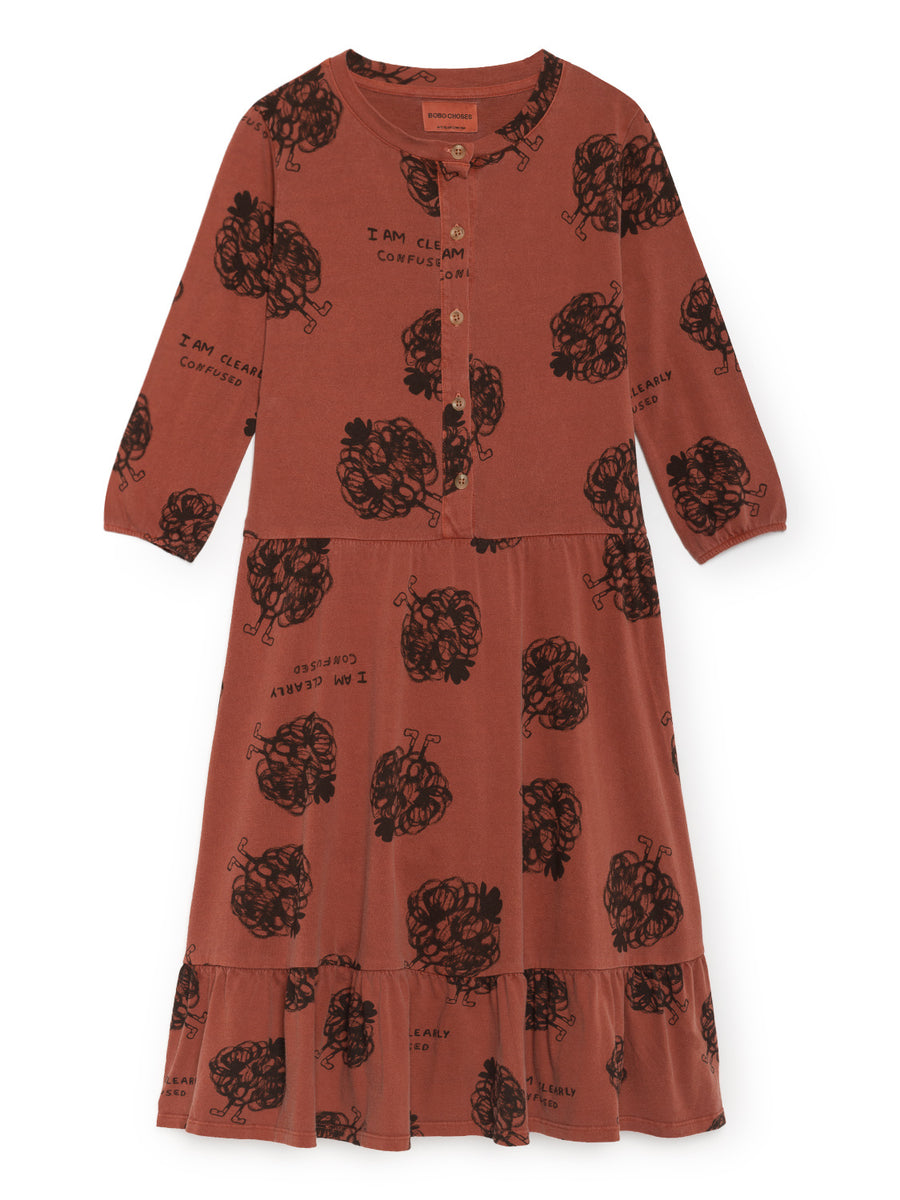 Clearly Confused Buttons Dress, Burnt Ochre