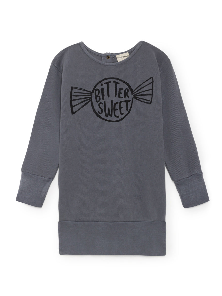 Bitter Sweet Fleece Dress, Dusty Blue