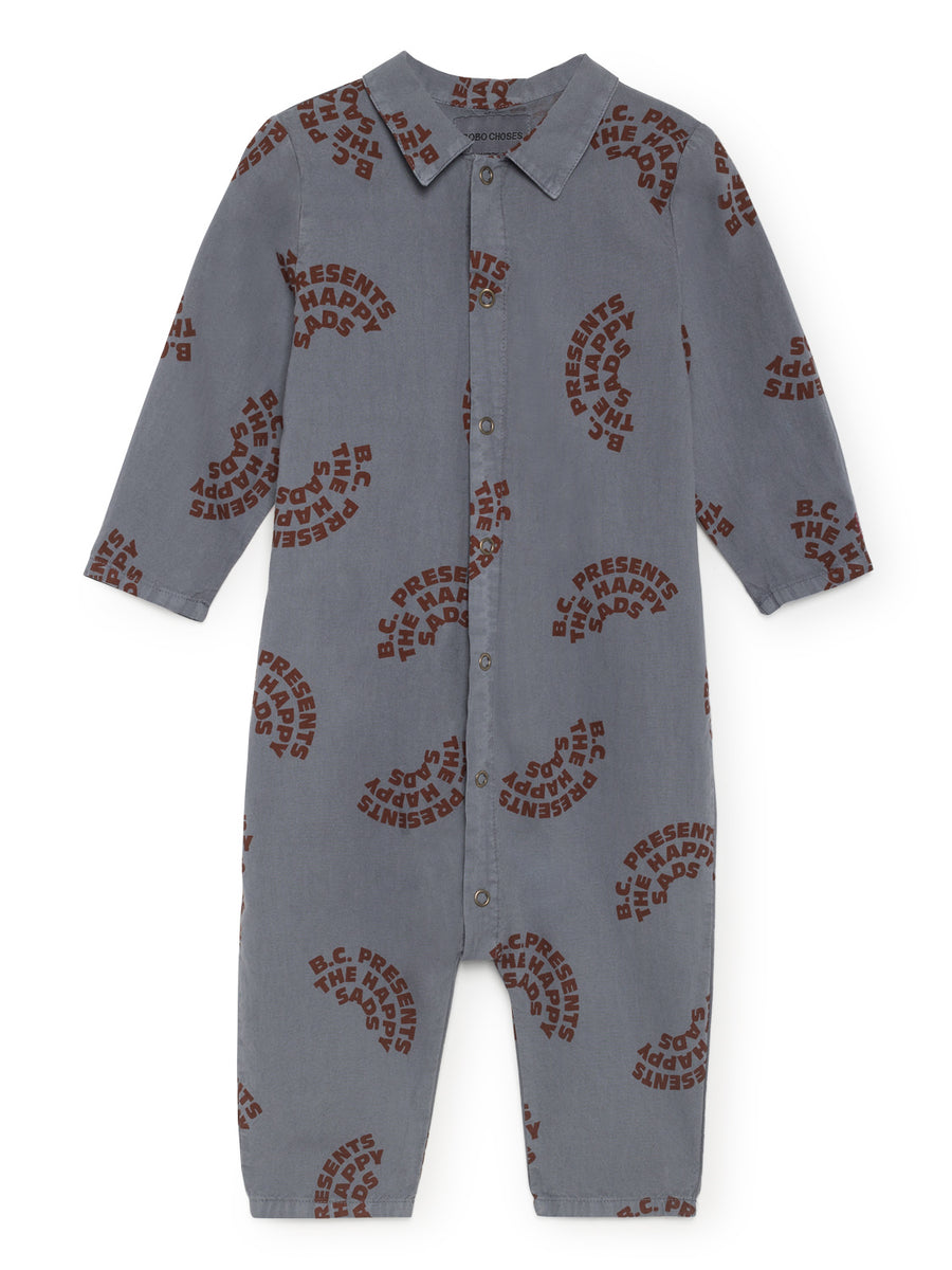 The Happy Sads Buttons Playsuit, Dusty Blue
