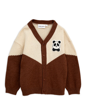 Panda knitted wool cardigan, brown