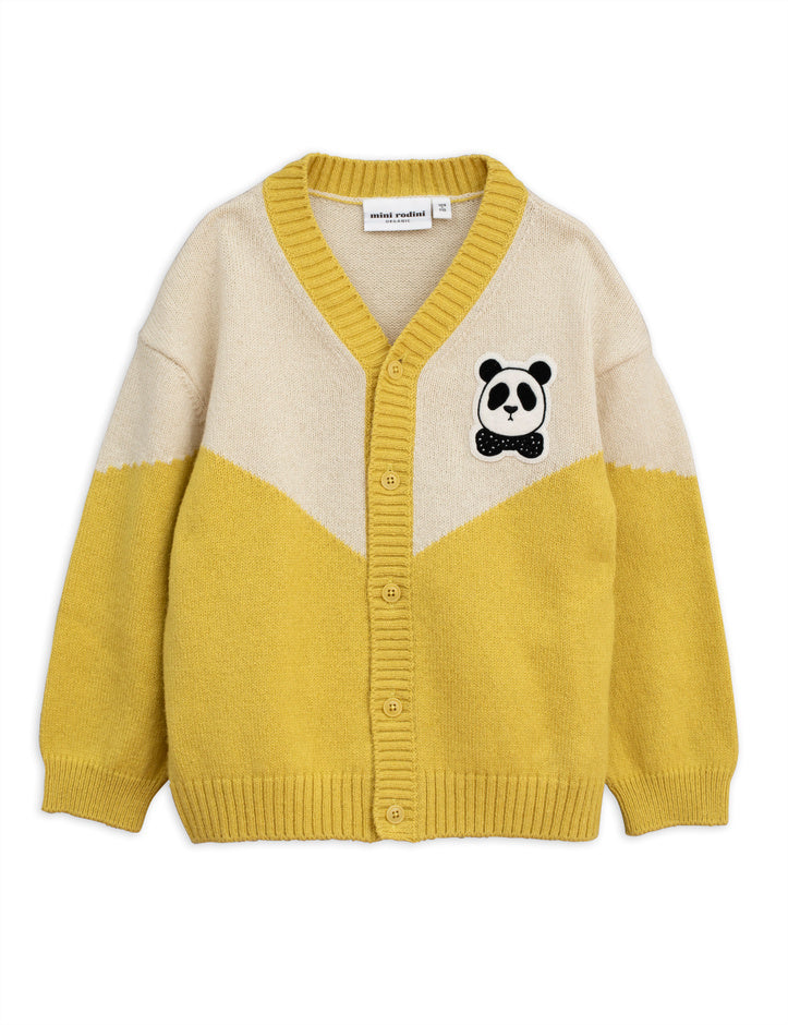 Panda knitted wool cardigan, yellow