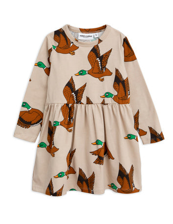 Ducks aop ls dress, beige
