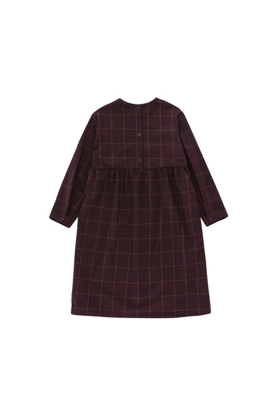 Grid flannel ls dress, plum