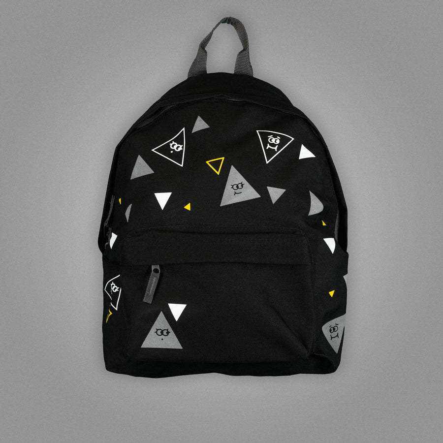 Polka animated triangles backpack Black