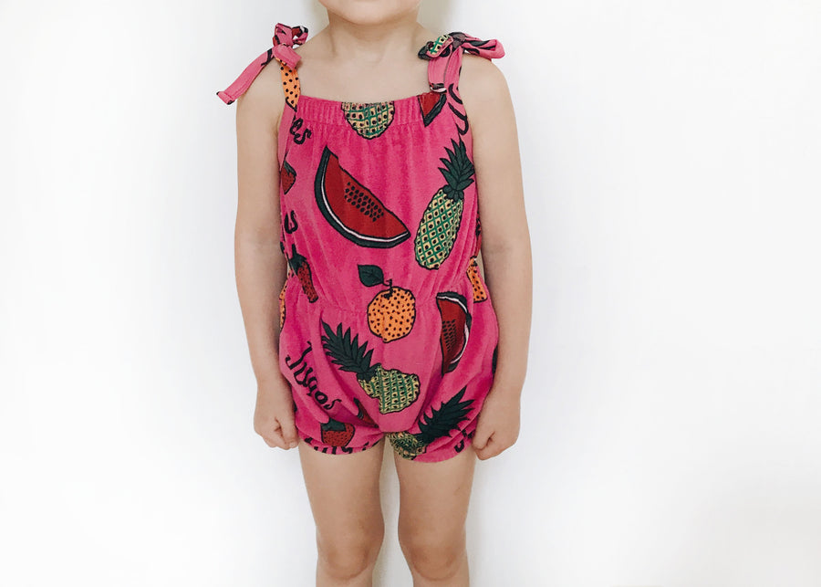 Terry shoulder-tie romper Fruit