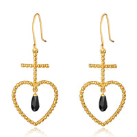 F+H - 'ELLE' Beaded Heart Earring (22k Gold + Black Onyx)