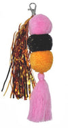 LANGDON - Pom Pom key ring pink, mustard and navy with lurex