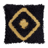 LANGDON -Diamond Black/Gold Shag Cushion