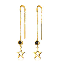 F+H - THE 'BANG BANG' STAR THREAD EARRING (22K GOLD + BLACK ONYX)