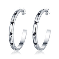 F+H - THE 'STARDUST' HOOP EARRINGS (STERLING SILVER + ONYX)
