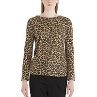 OTTOD'AME - ANIMAL PRINT JERSEY LONG SLEEVE T-SHIRT