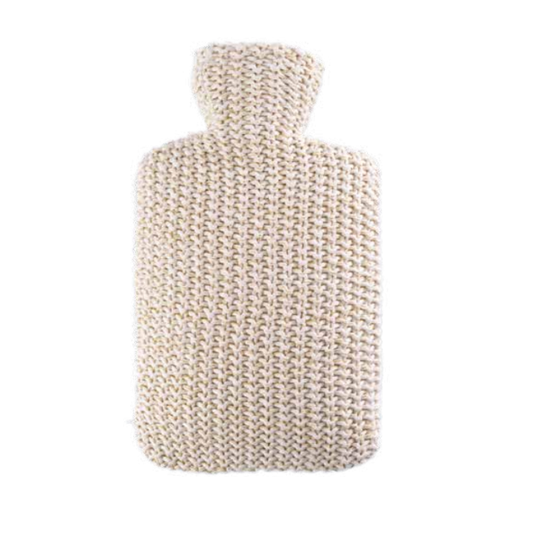 Cream Cotton Cover Hot Water Bottle