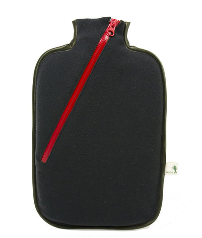 Black Eco Sustainable Hot Water Bottle with Zip Cover